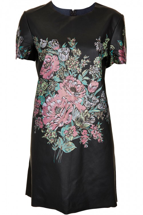 Angela-Simmons- Instagram- Topshop-Flower Print-Leather -Look -T-Shirt- Dress-