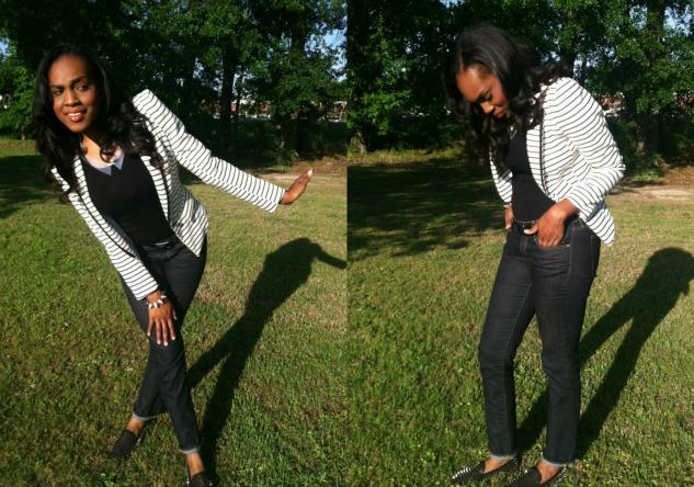 White-Black-Striped -Blazer-unif-spike-loafers-lucite-bib-necklace-9