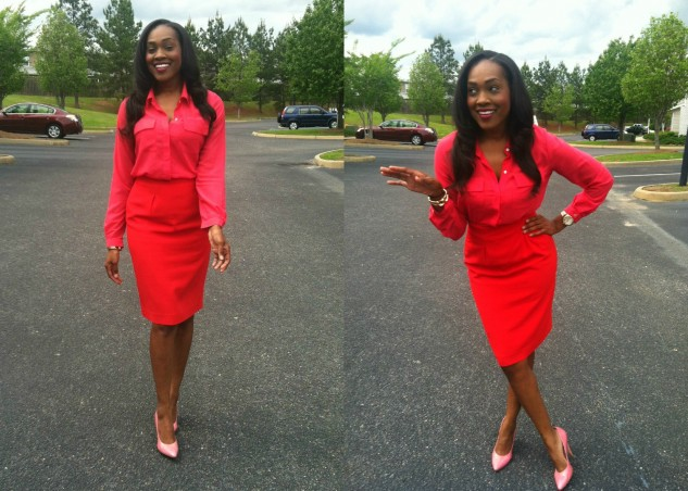 hot-pink-silk-blouse-red-pencil-skirt-pink-bcbg-pumps-7