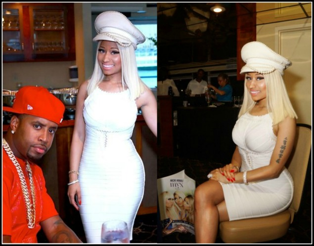 Nicki-Minaj-Myx-and- Mingle-4th-of-July-Boat Party-Herve-Leger- Mesh-detailed- Bandage-Dress-9
