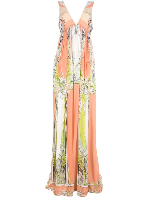 Beyonce-Styles- Roberto-Cavalli-Spring-2013-Three-Quarter-Sleeve-Printed-Floor-Length- Dress-4