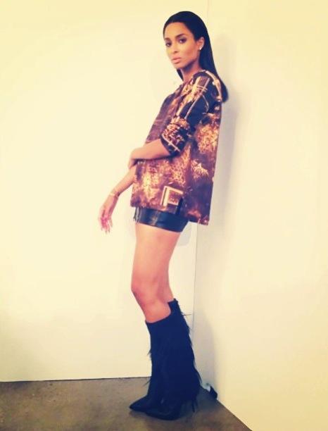 Ciara-Instagram- Balmain-Gold- Printed-Crewneck- Sweatshirt- Cesare-Paciotti- Boots-