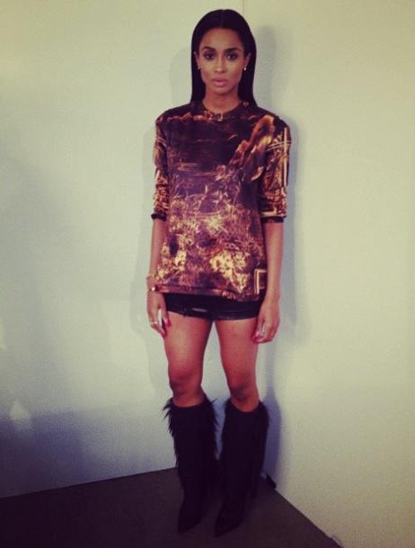 Ciara-Instagram- Balmain-Gold- Printed-Crewneck- Sweatshirt- Cesare-Paciotti- Boots-2