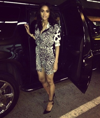 Ciara-Instagram- Versace-Small- Leopard-Shirt- Dress-Sergio- Rossi-Loop- Pumps-