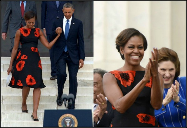 Michelle- Obama- March-on- Washington- 50th- Anniversary- Tracy-Reese- Embellished- Flared-Frock-13
