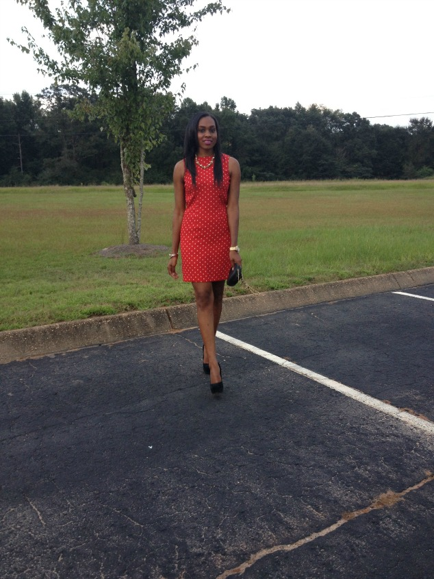Style-Files-with- PrettyPrice-Red-and -White-Thrifted-Polka Dot-Sheath-Dress- Black-Zigi-Soho-Pumps-Black-Qulited- Chain-Purse-3