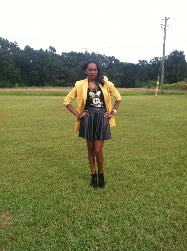 Style-Files-with- PrettyPrice-Forever-21- Faux-Leather-Skater- Skirt-Joy-Rich-Minnie- Mouse-Tee-Thrifted- Mustard-Blazer-Sam Edelman-Uma- Booties-5