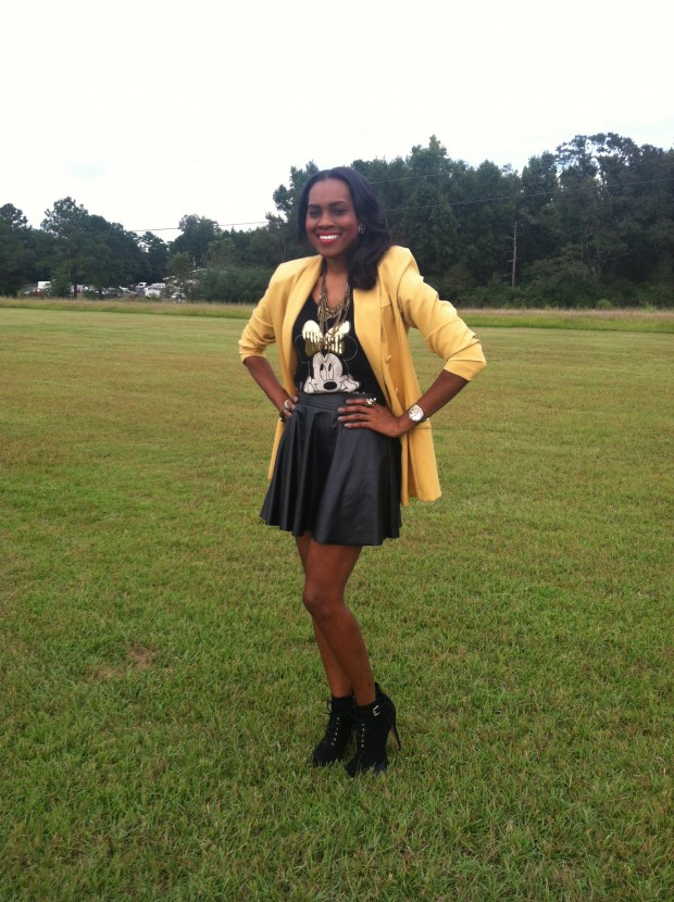Style-Files-with- PrettyPrice-Forever-21- Faux-Leather-Skater- Skirt-Joy-Rich-Minnie- Mouse-Tee-Thrifted- Mustard-Blazer-Sam Edelman-Uma- Booties-9