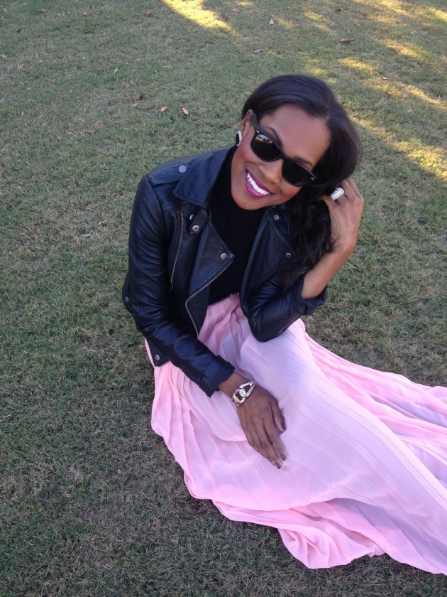 Style-Files-with-PrettyPrice-Jesse and J-Pink-Pleated-Skirt-Forever- 21-Crop-Turtleneck- Leather-Moto-Jacket-Black-Pumps-5
