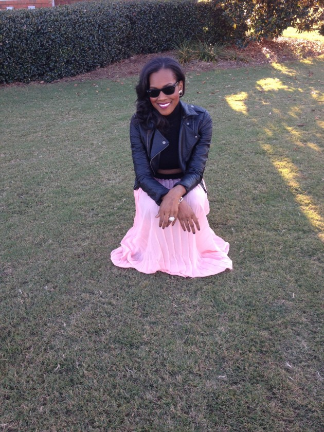 Style-Files-with-PrettyPrice-Jesse and J-Pink-Pleated-Skirt-Forever- 21-Crop-Turtleneck- Leather-Moto-Jacket-Black-Pumps-6