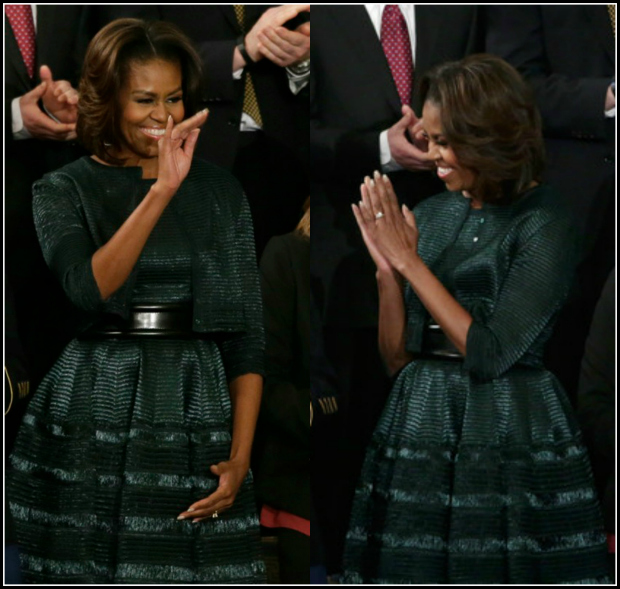 First-Lady-of- Fab-Michelle-Obama-2014-State-of-the-Union- Azzedine-Alaia- Hunter-Green- Dress-and-Jacket-8