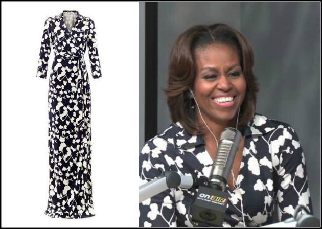 Michelle-Obama-Ryan-Seacrest- Radio-Show-Diane-Von- Furstenberg- Abigail- Wrap-Dress-DVF-Navy-Cream-orchid- print-wrap-dress-7