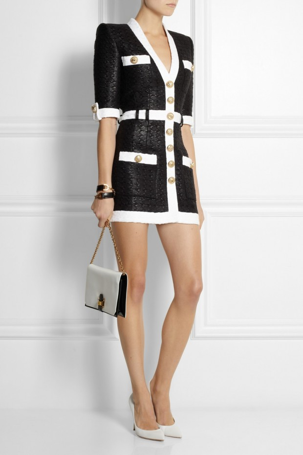 Sweet-Treat of-the- Day-BALMAIN- Coated-tweed-mini dress-