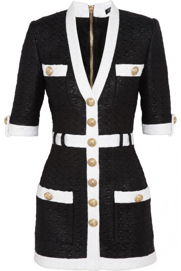 Sweet-Treat of-the- Day-BALMAIN- Coated-tweed-mini dress-4
