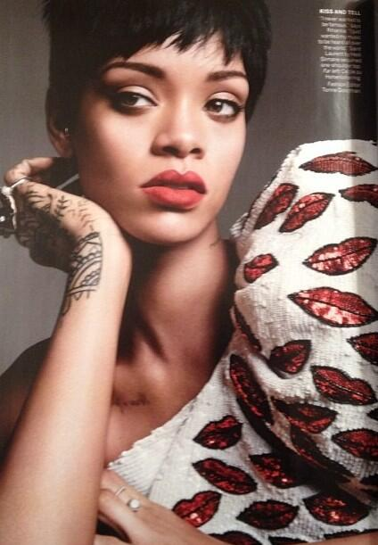 rihanna-saint-laurent-lip-print-shirt-vogue-march -2014