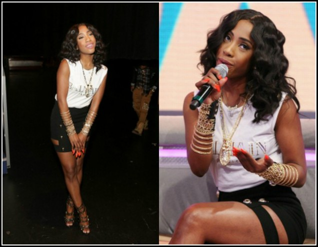 Sevyn-Streeter-106- Park-Anthony-Vaccarello-Banded- Skirt-Balmain-Printed T-shirt-Chained Embellished- Sandals-oohlalablog-11