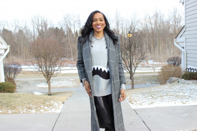 Style Files-with-PrettyPrice-Forever 21 Sequin Legings-Forever-21-Monster-Face-Grey-Sweater- BCBG-Leather-Sleeve-Blazer-Unif-SPike-Loafers-Ooh-La-La-Blog-11