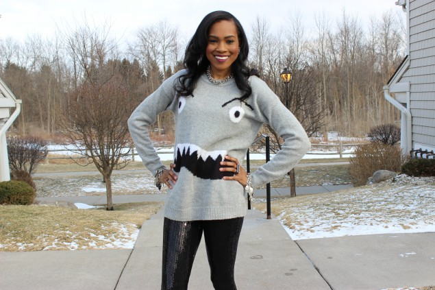 Style Files-with-PrettyPrice-Forever 21 Sequin Legings-Forever-21-Monster-Face-Grey-Sweater- BCBG-Leather-Sleeve-Blazer-Unif-SPike-Loafers-Ooh-La-La-Blog-12