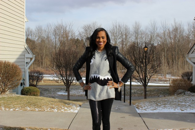 Style Files-with-PrettyPrice-Forever 21 Sequin Legings-Forever-21-Monster-Face-Grey-Sweater- BCBG-Leather-Sleeve-Blazer-Unif-SPike-Loafers-Ooh-La-La-Blog-7