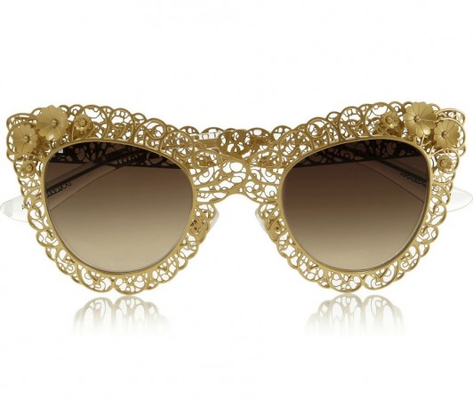 Dolce Gabbana Cat eye filigree gold-tone sunglasses