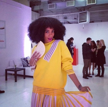 I-Love-Her-Look- Solange-Knowles-at- Q-Q-Launch-Event-in Christopher-Kane- Resort-2014-Kate- Spade-Bag-Acne- Studios-Heels-6