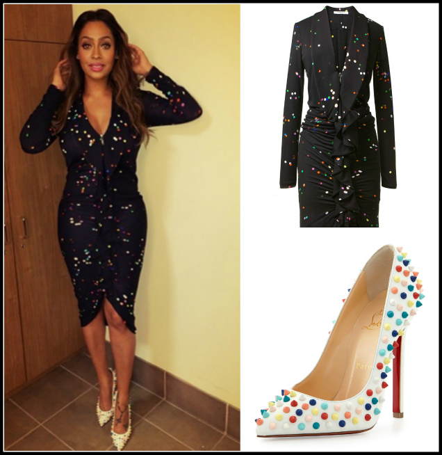 InstaStyle-LaLa- Anthony-Instagram- Givenchy-Black- Confetti-printed- Dress-Christian- Louboutin-White- Pigalle-Pumps-oohlalablog-4