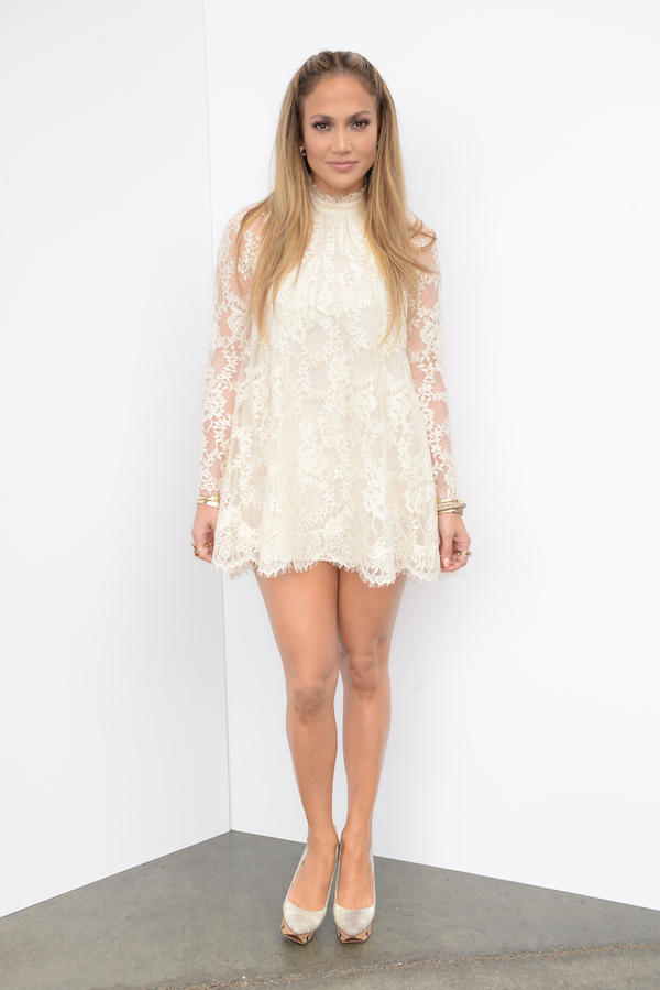 Snag-Her-Style- Jennifer-Lopez-American-Idol- Season-13- H-M Cream-lace-dress-Conscious-Collection-Ivy- Kirzhner-Platform- Pumps-