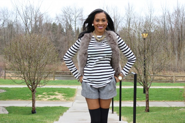 Style Files-with-PrettyPrice-Forever 21 Tweed Shorts-grey-Faux-Fur-Vest- Joe Fresh-Striped-Shirt-Mossimo-Valeria- Oxfords-10