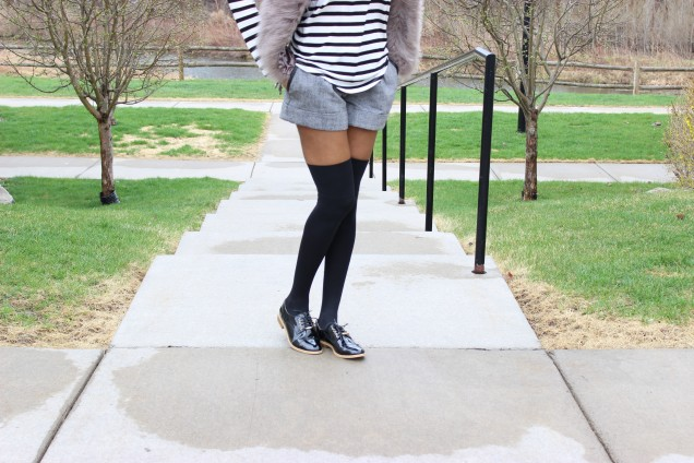 Style Files-with-PrettyPrice-Forever 21 Tweed Shorts-grey-Faux-Fur-Vest- Joe Fresh-Striped-Shirt-Mossimo-Valeria- Oxfords-4