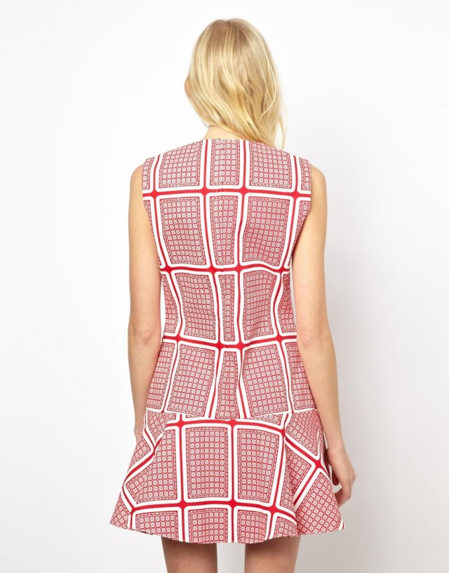 Sweet-Treat-of-the-day-Peter- Jensen-Dropped- Waist-Dress-in -Card-Print- Canvas-2