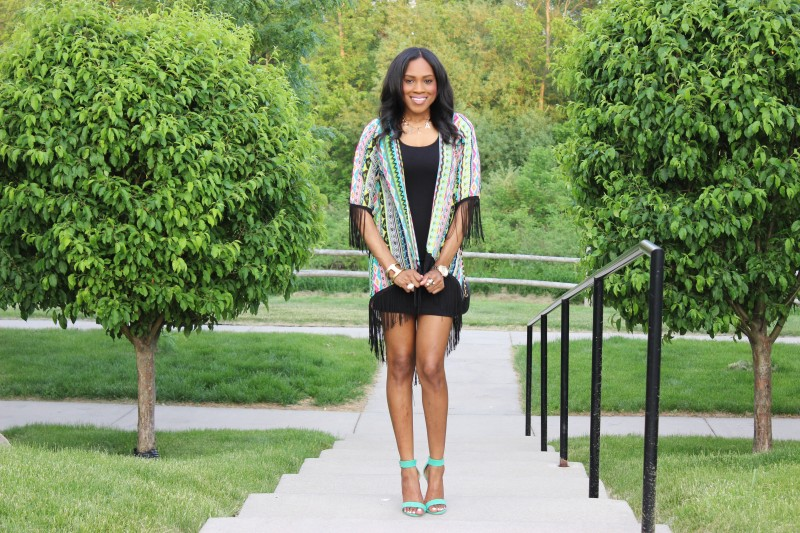 StyleFiles- with-PrettyPrice-Aztec-Fringe-kimono-Just-Fab-Paean - Seafoam-Ankle-Strap-heels-Black-Forever-21-Basc-Dress-2
