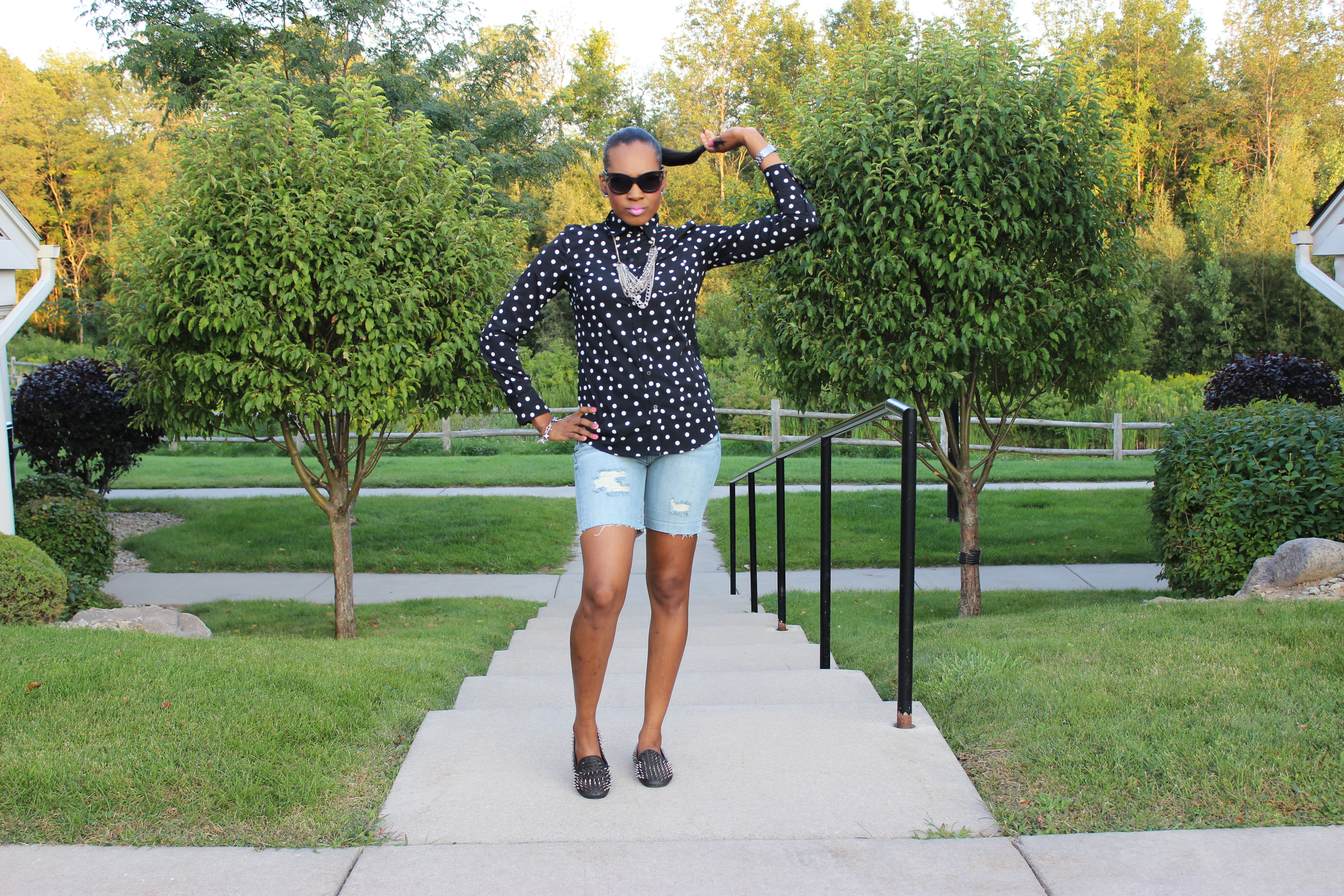 Style-Files-With-Pretty-Price-Merona-black-and-white-Polka-dot-blouse-MOSSIMO-distressed-boyfriend-shorts-Unif-loafers-2