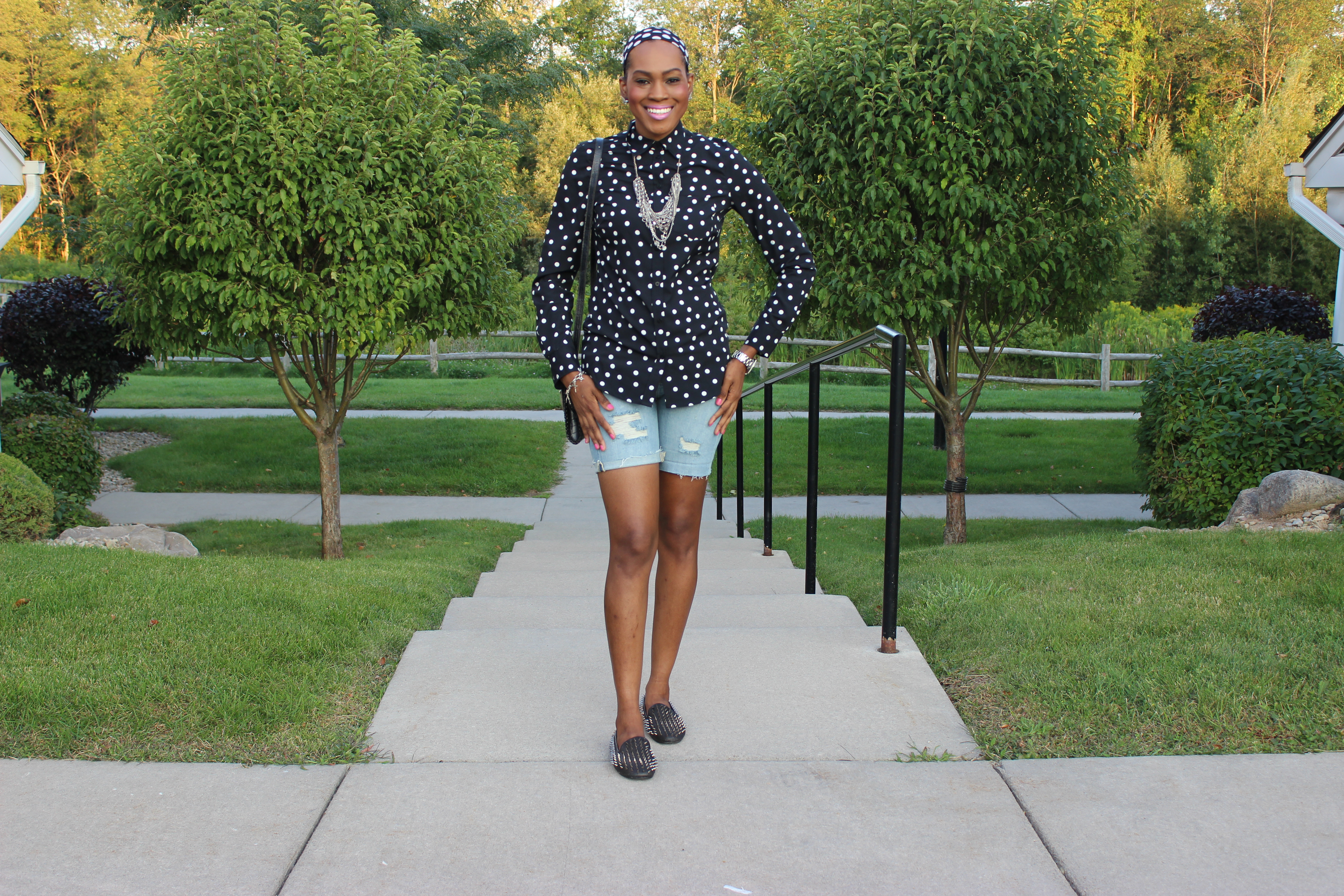 Style-Files-With-Pretty-Price-Merona-black-and-white-Polka-dot-blouse-MOSSIMO-distressed-boyfriend-shorts-Unif-loafers-7