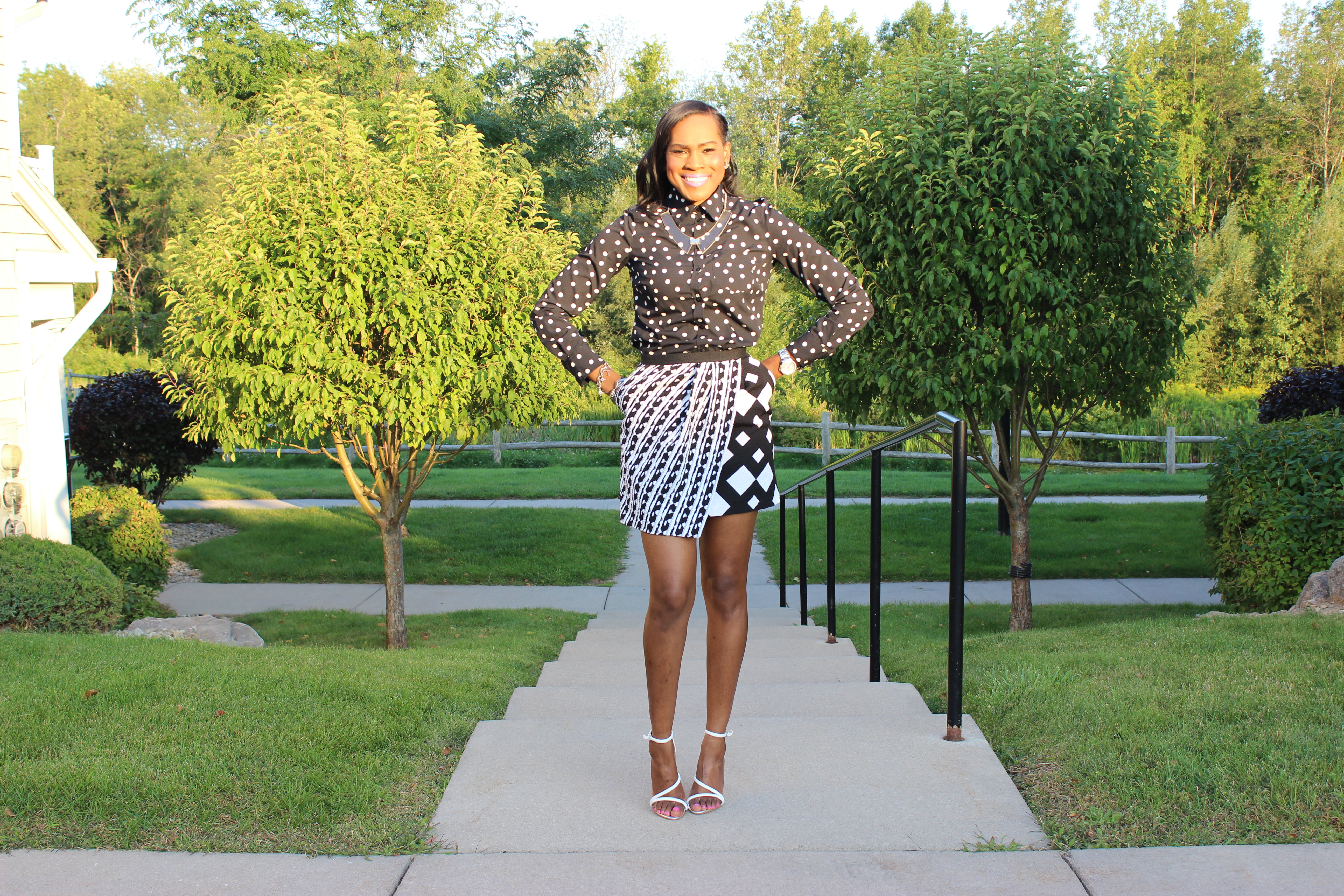 Style-Files-With-Pretty-Price-Merona-black-and-white-Polka-dot-blouse-Peter-Pilotto for target -black-and-white-skirt-Zara-white- HIGH HEEL STRAPPY SANDALS-2