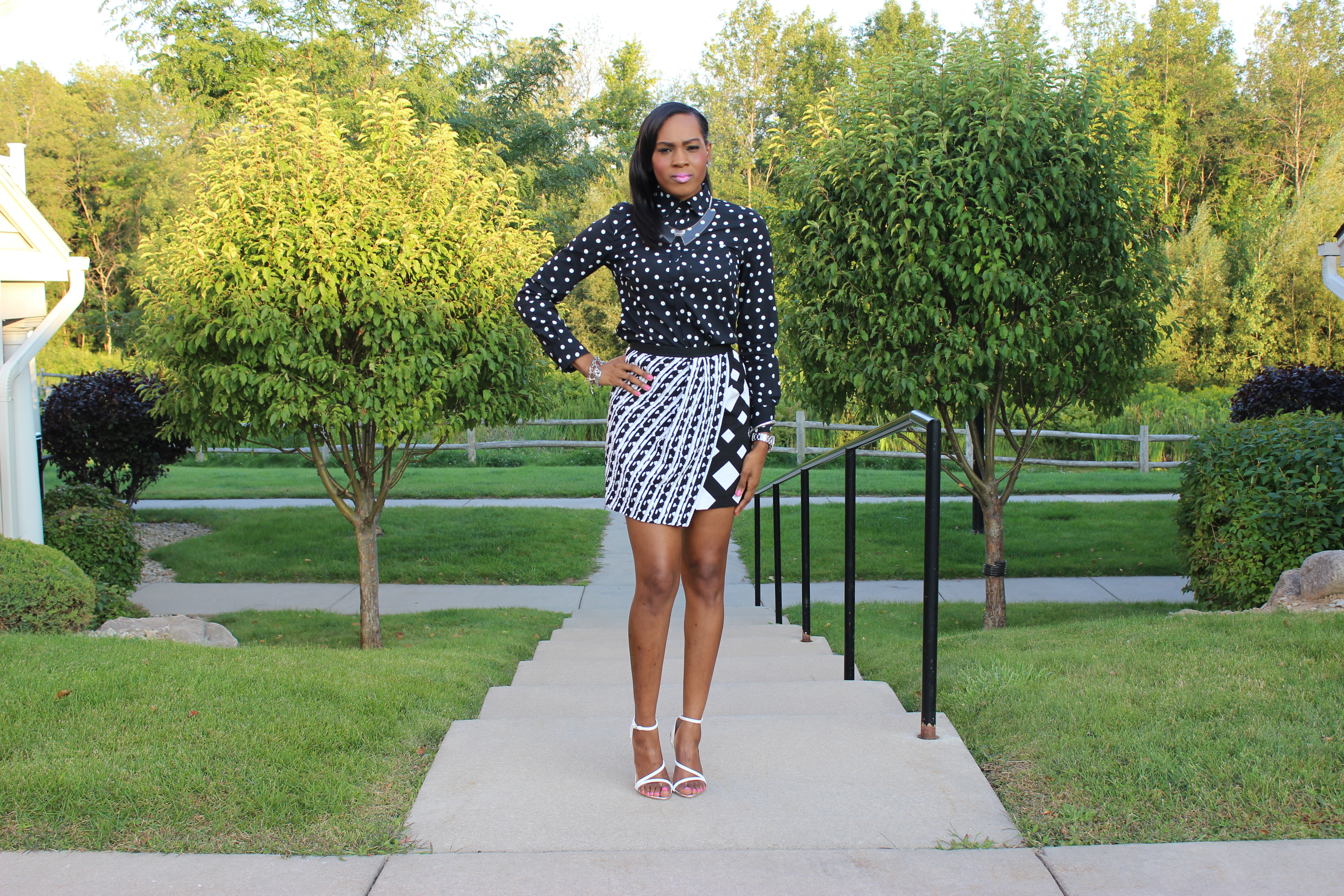 Style-Files-With-Pretty-Price-Merona-black-and-white-Polka-dot-blouse-Peter-Pilotto for target -black-and-white-skirt-Zara-white- HIGH HEEL STRAPPY SANDALS-6