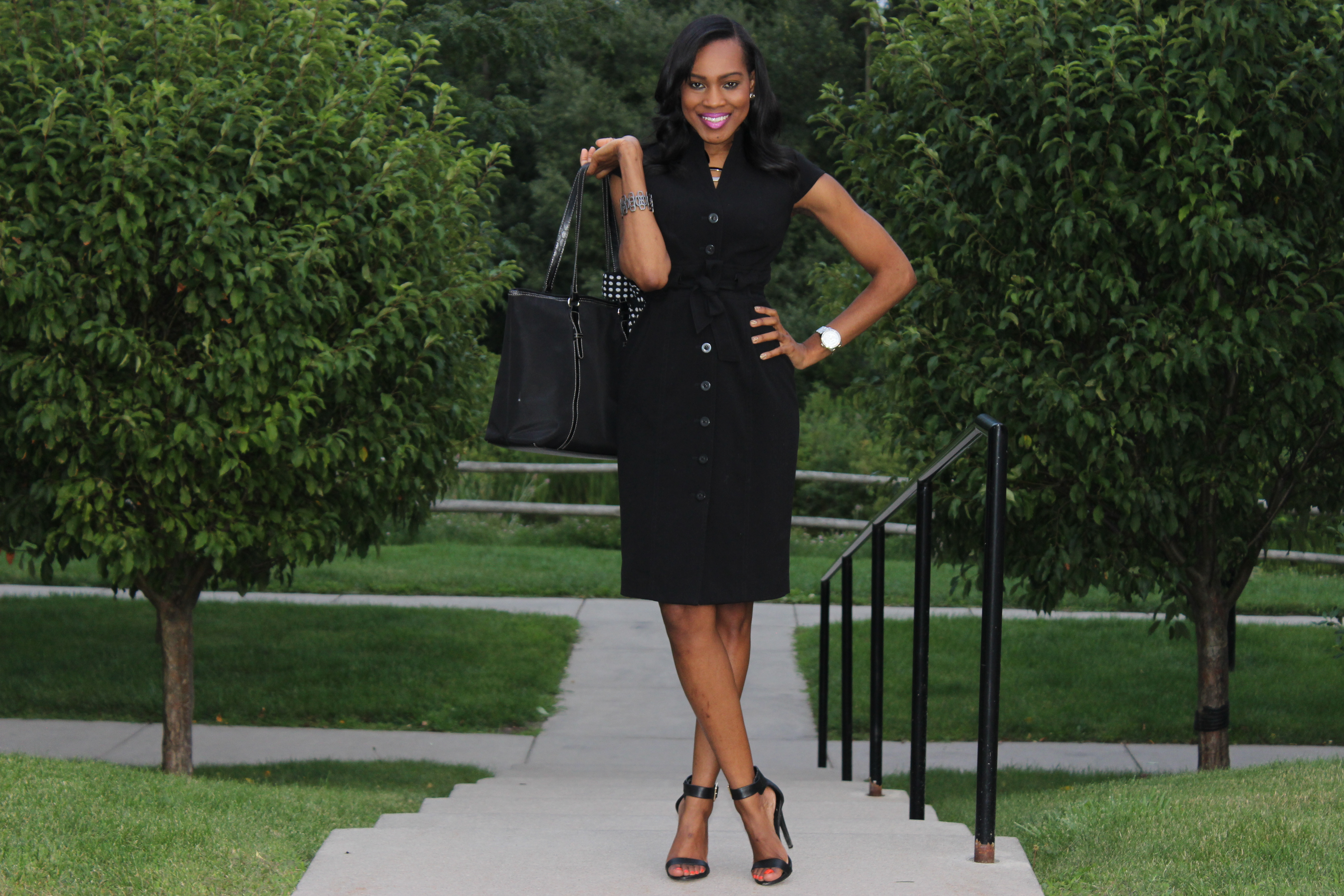 Style-Files-With-Pretty-Price-Thrifted-Calvin-klein-Black-button-down-wraP-dress-Calvin Klein-Crepe- Shirt dress-2