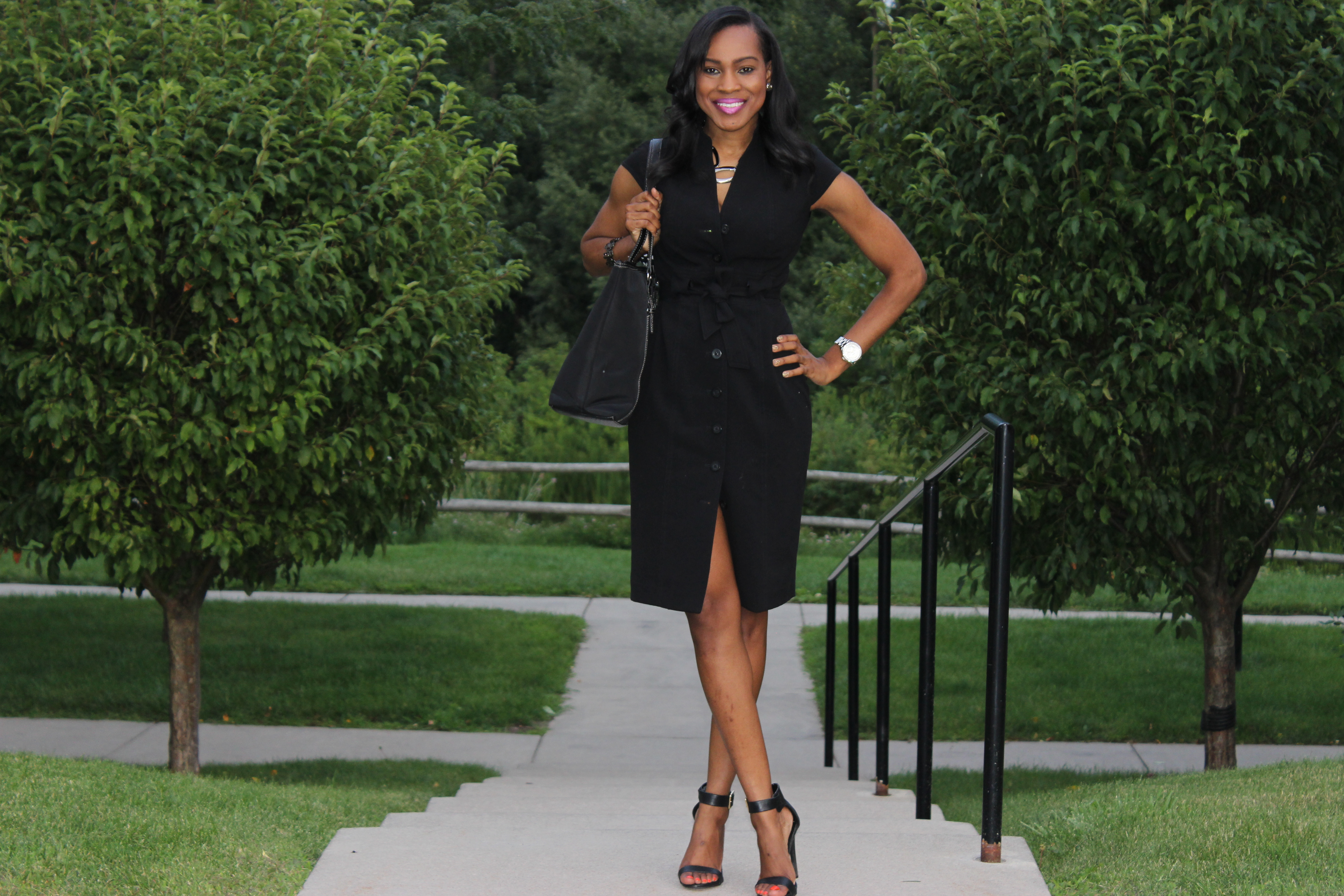 Style-Files-With-Pretty-Price-Thrifted-Calvin-klein-Black-button-down-wraP-dress-Calvin Klein-Crepe- Shirt dress-4
