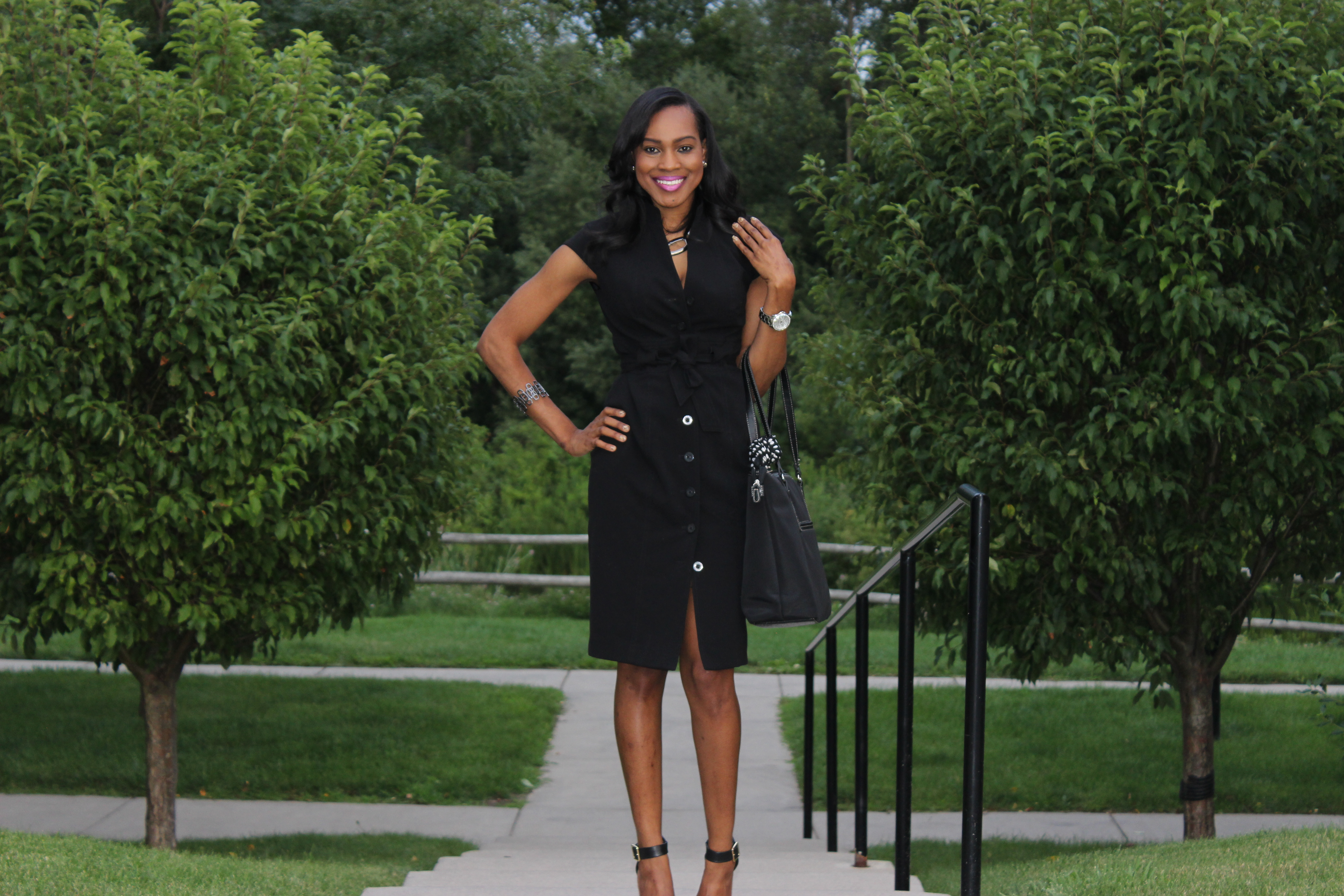 Style-Files-With-Pretty-Price-Thrifted-Calvin-klein-Black-button-down-wraP-dress-Calvin Klein-Crepe- Shirt dress-7