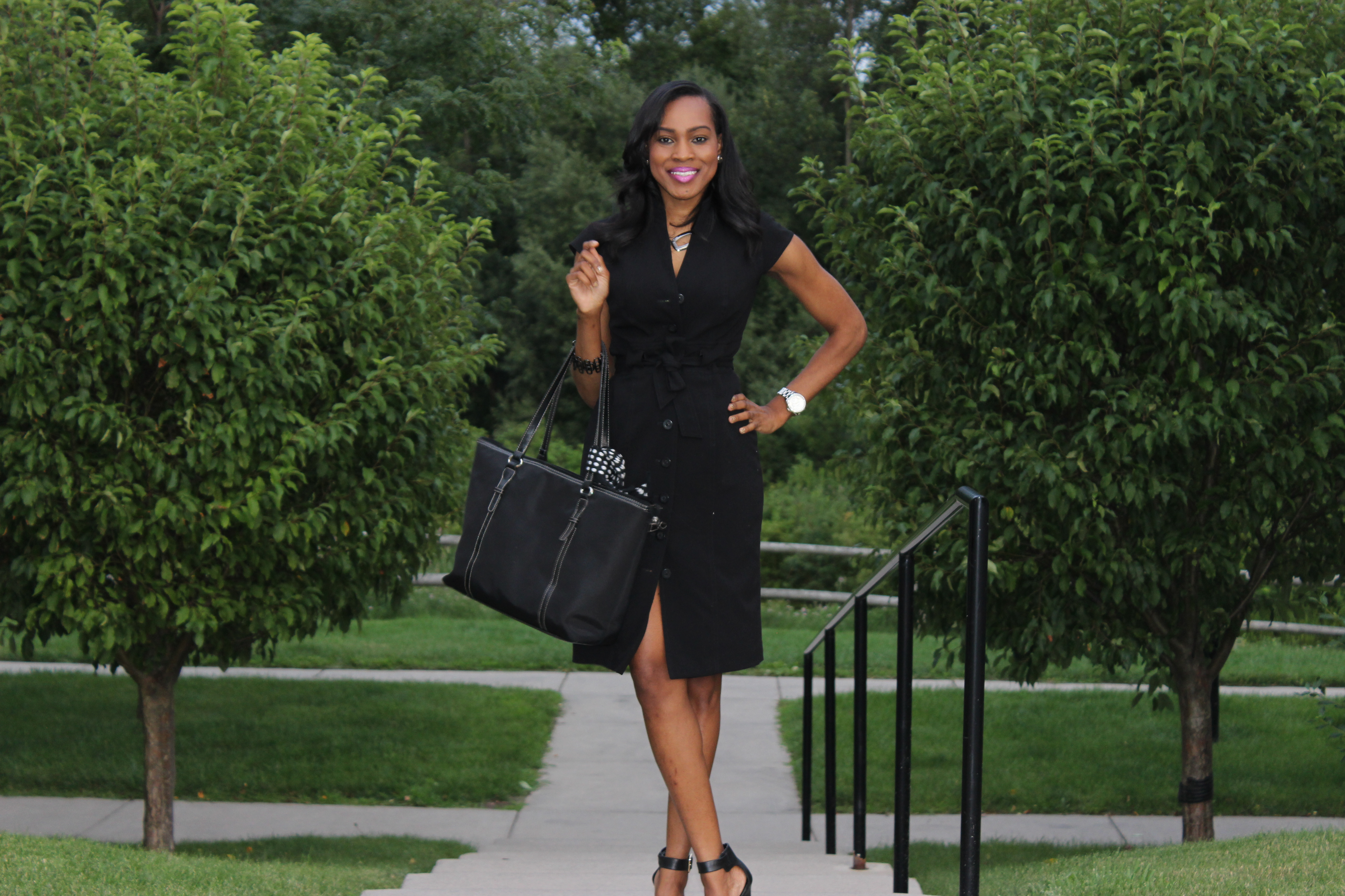 Style-Files-With-Pretty-Price-Thrifted-Calvin-klein-Black-button-down-wraP-dress-Calvin Klein-Crepe- Shirt dress-8