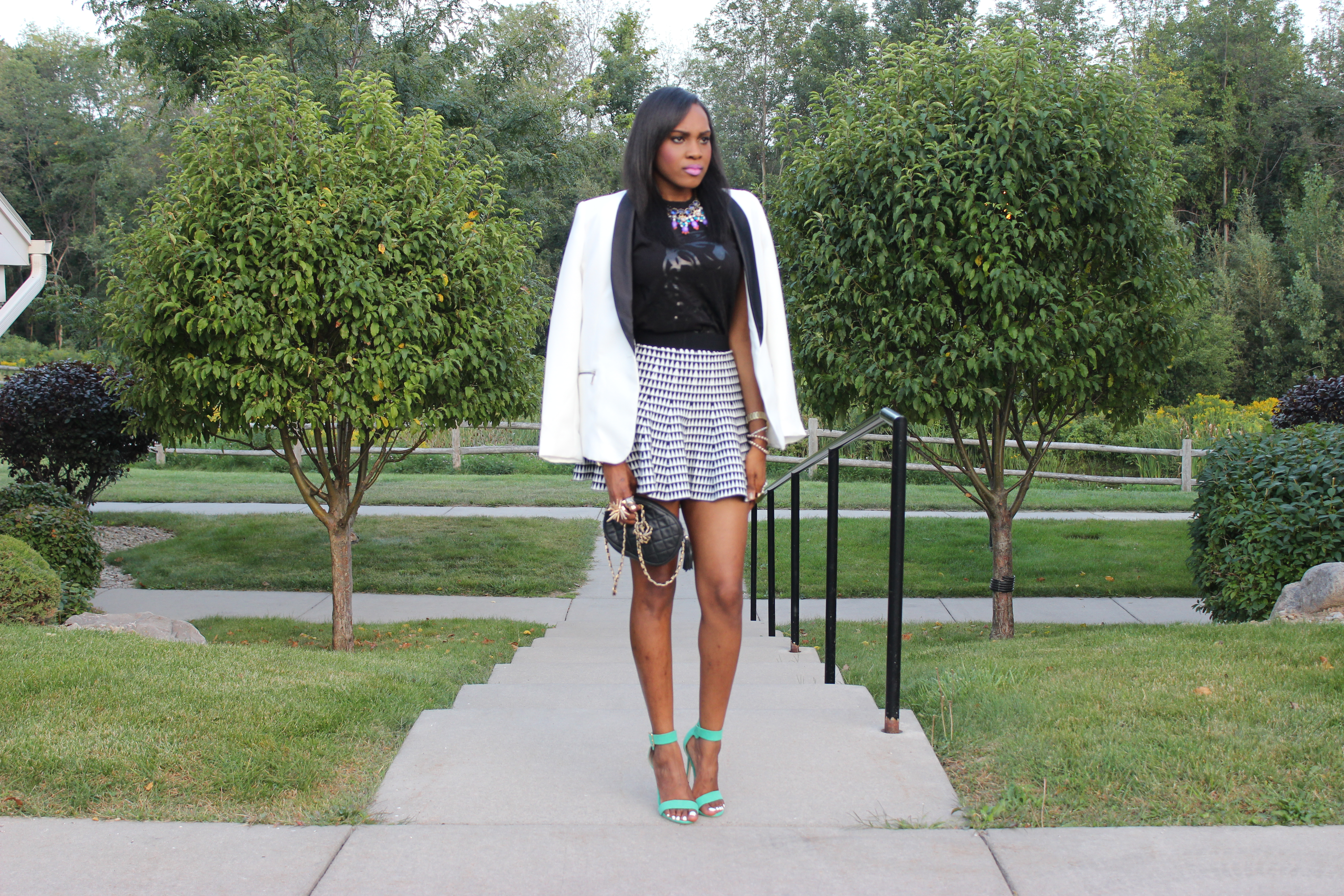 Style-Files-with- PrettyPrice-Forever 21- Striped-Knit-Skater- Skirt- The Day Dreamer Society-Angel- T-shirt- Just Fab-Paean-Sea Foam-Sandals-12