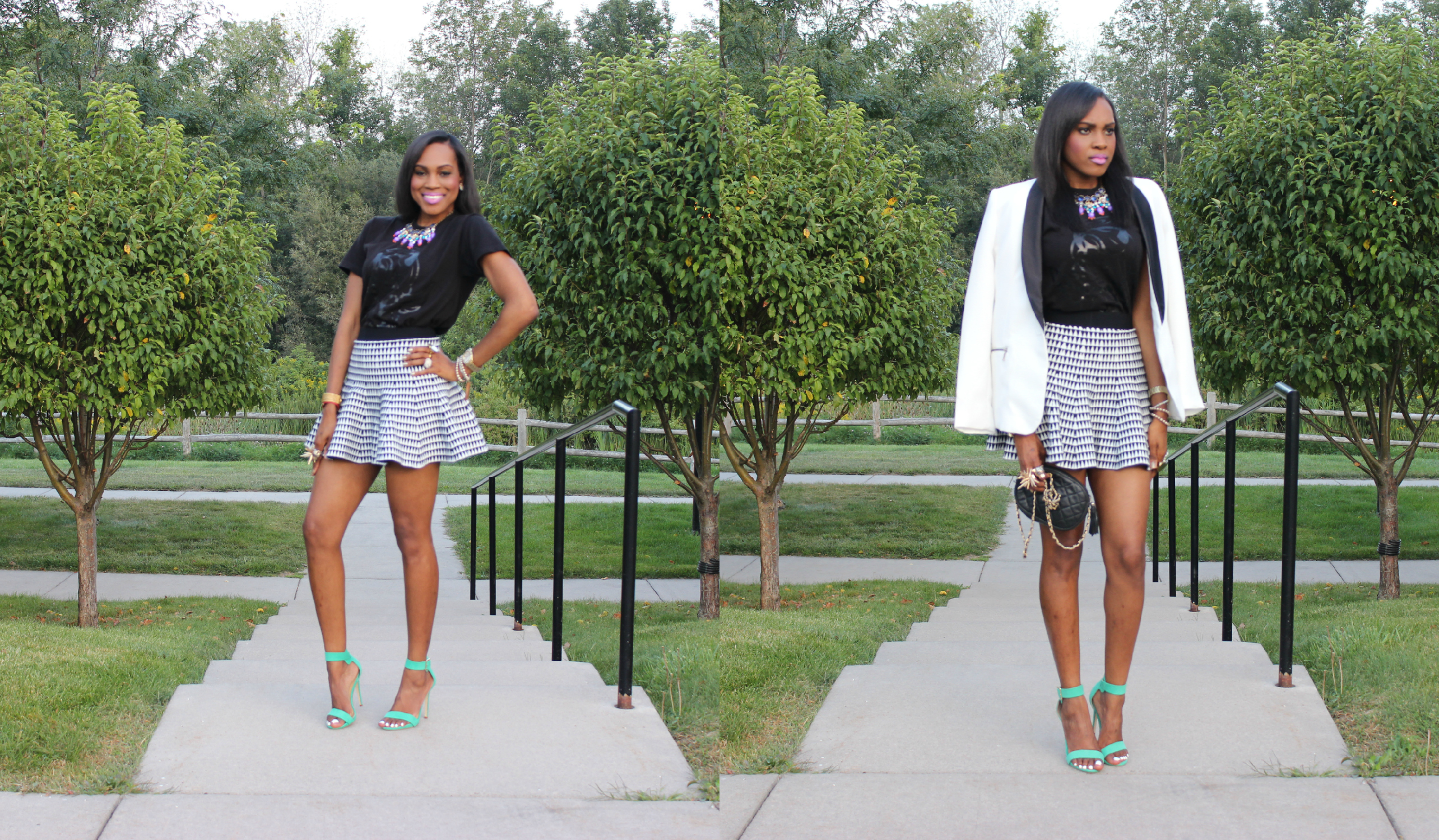 Style-Files-with- PrettyPrice-Forever 21- Striped-Knit-Skater- Skirt- The Day Dreamer Society-Angel- T-shirt- Just Fab-Paean-Sea Foam-Sandals-14