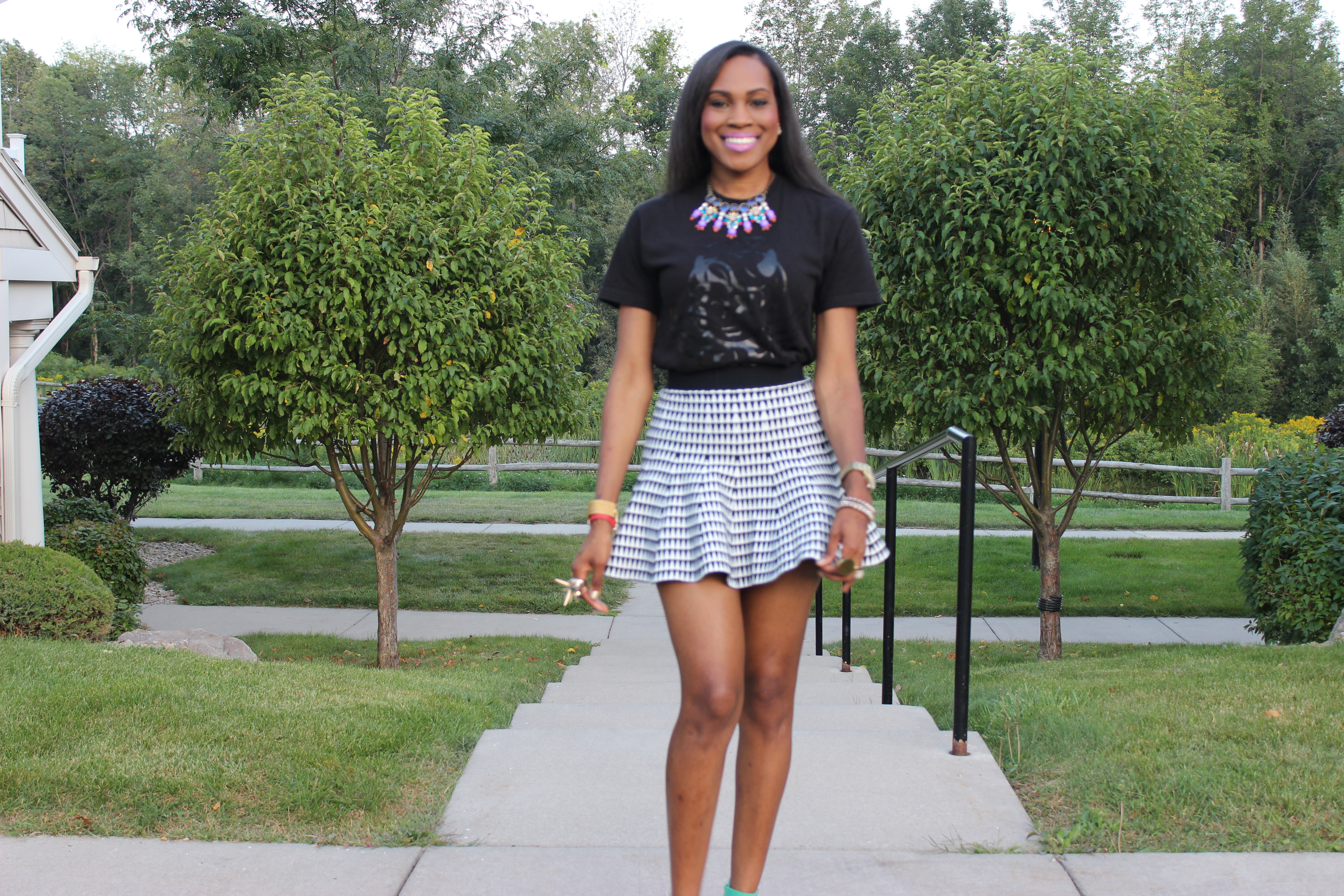 Style-Files-with- PrettyPrice-Forever 21- Striped-Knit-Skater- Skirt- The Day Dreamer Society-Angel- T-shirt- Just Fab-Paean-Sea Foam-Sandals-6