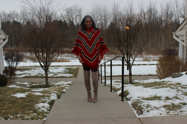 style-files-with-prettyprice-how to wear a poncho-poncho-style-aztec-prrinted-poncho-Just Fab-Aliz-Over-the-knee-boots-brown-wide-brim-hat-6