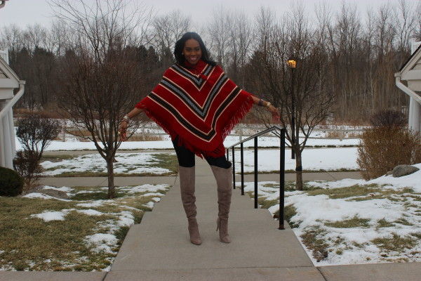 style-files-with-prettyprice-how to wear a poncho-poncho-style-aztec-prrinted-poncho-Just Fab-Aliz-Over-the-knee-boots-brown-wide-brim-hat-7