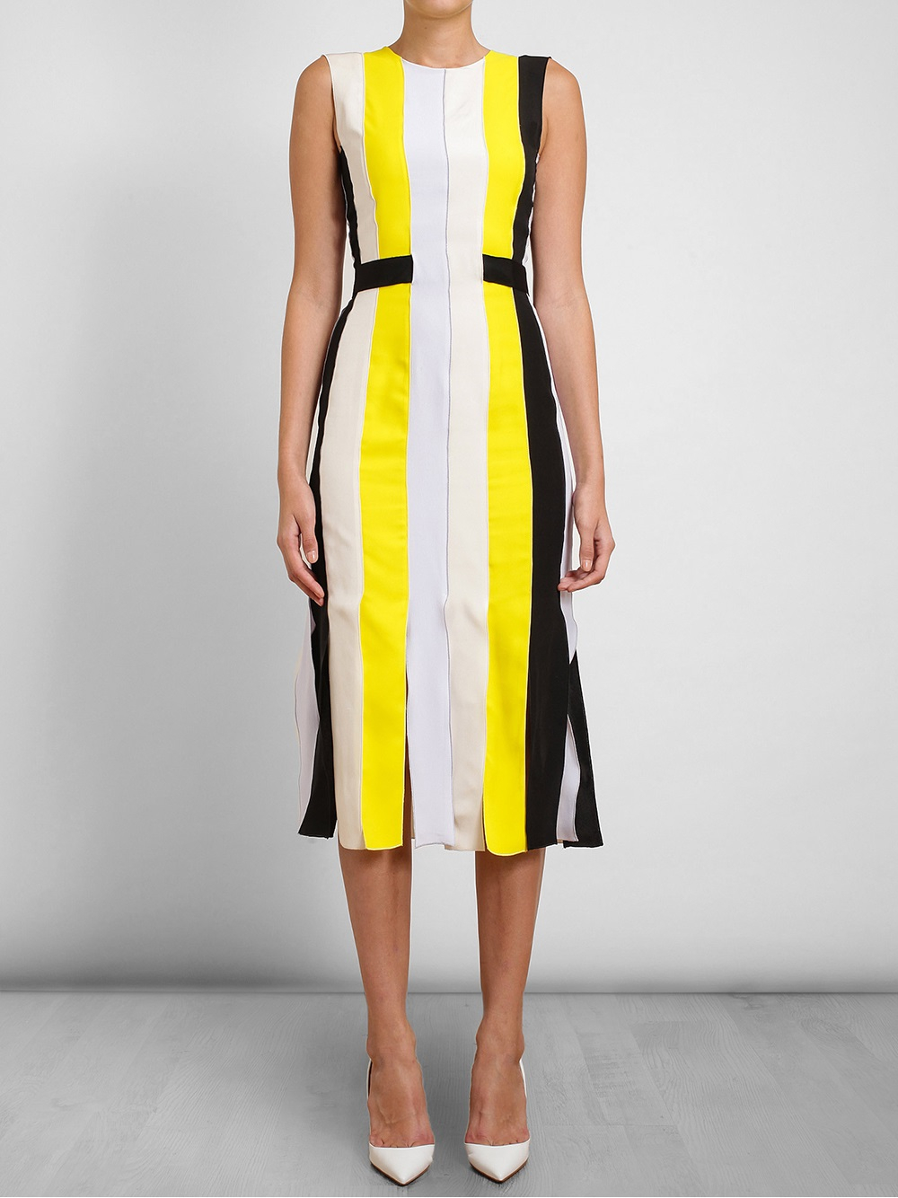 Being-mary-jane-roksanda-ilincic-yellow-wyatt-pleated-crepe-dress-being mary-jane-striped-dress-season-two-episode-six-2