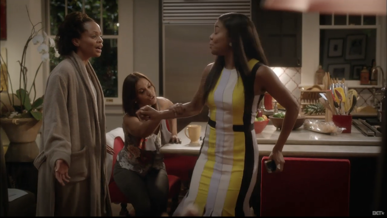 Being-mary-jane-roksanda-ilincic-yellow-wyatt-pleated-crepe-dress-being mary-jane-striped-dress-season-two-episode-six-7