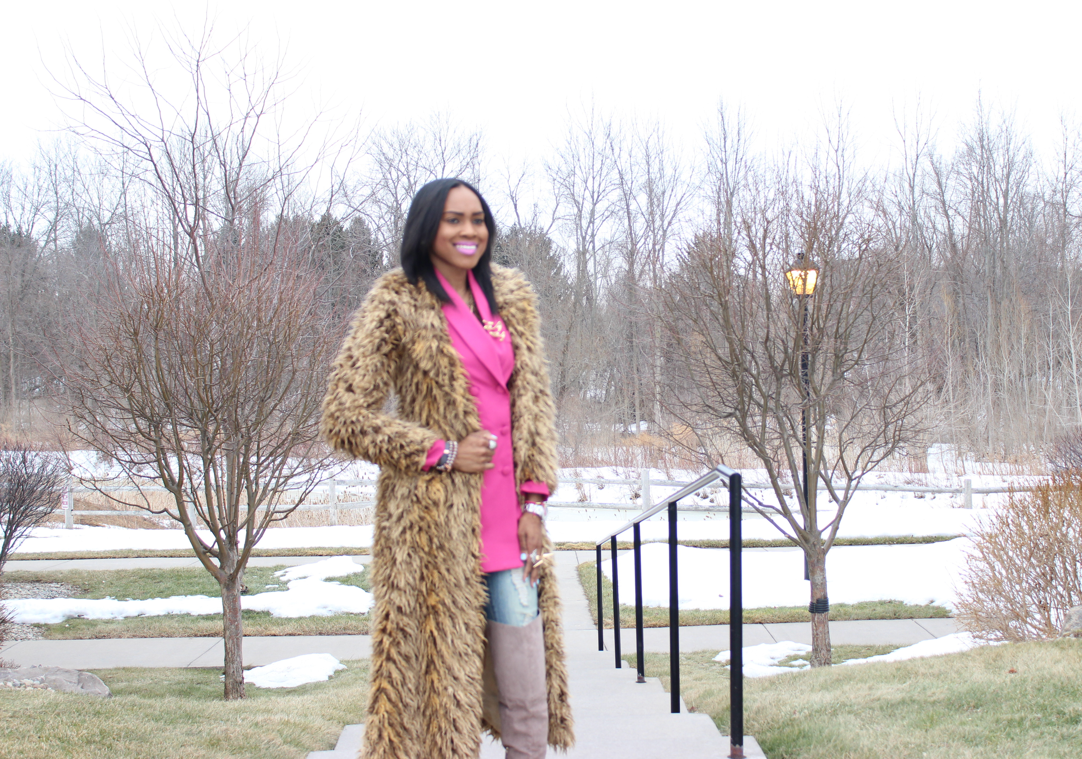 Style-Files-Hot-Pink-Blazer-Distessed-Jeans-Just-fav-over-the-knee-boots-bebe-shaggy-chic-coat-Pretty-Price-14