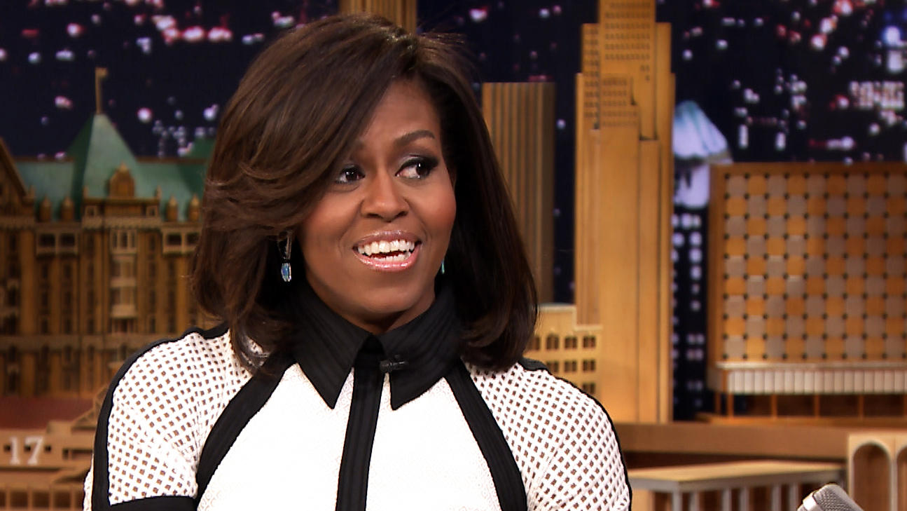 Michelle-Obama- Styles-In-Black-and-White-Mesh-Dress, Takes-To-The-Dance-Floor-With- Jimmy-Fallon-and Celebrates-The-5th- Year-of-Lets-Move Campaign-On-The- Tonight-Show-4