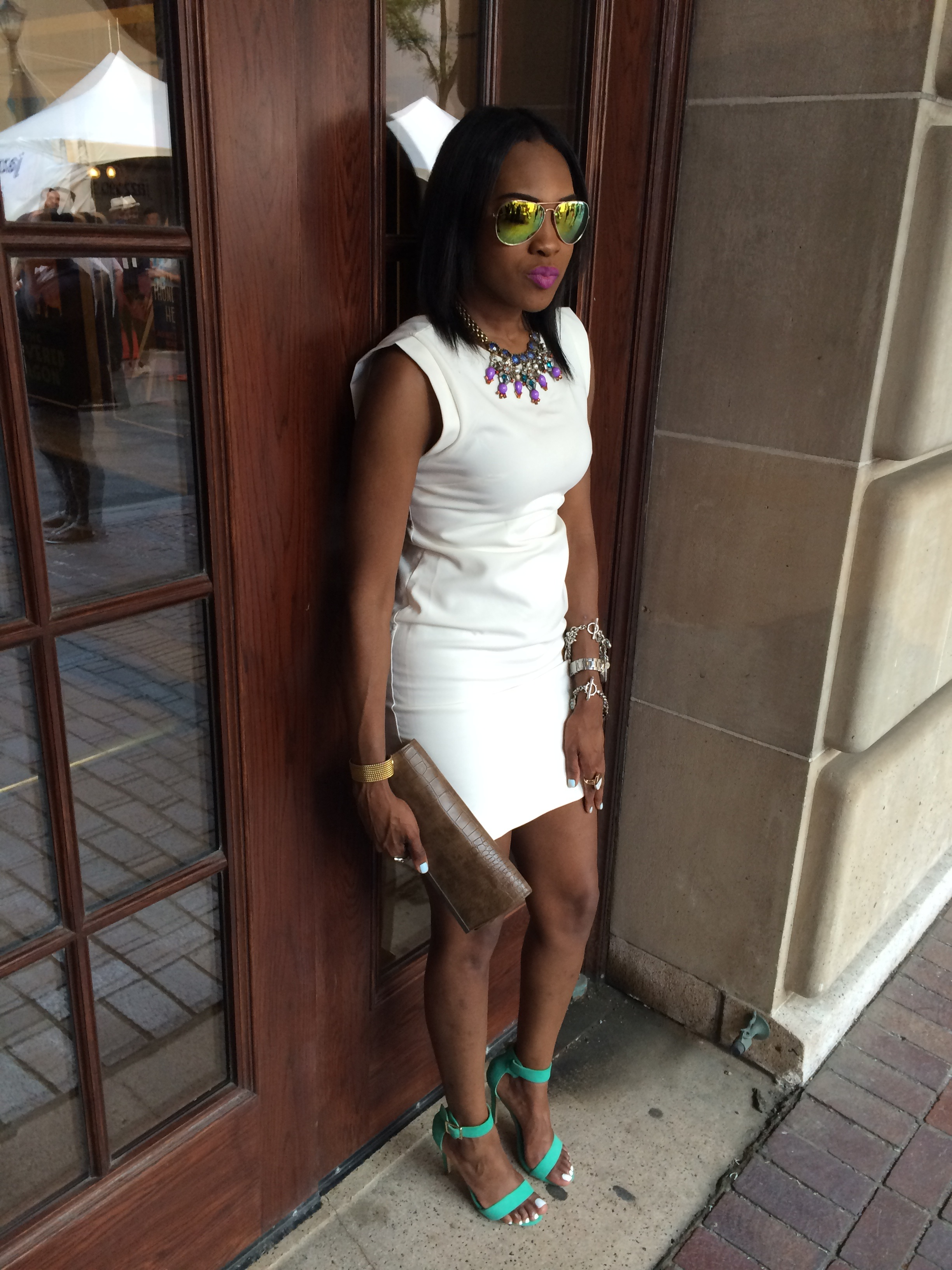 Style-files-white-one-clothing-sheath-dress-just-fab-Paean-seamfoam-mint-green-ankle-strap-sandals-forever-21-white-ruffled-coat-forever-21-mirrored-tint-sunglasses-birthday-behavior-jday-oohlalablog-2