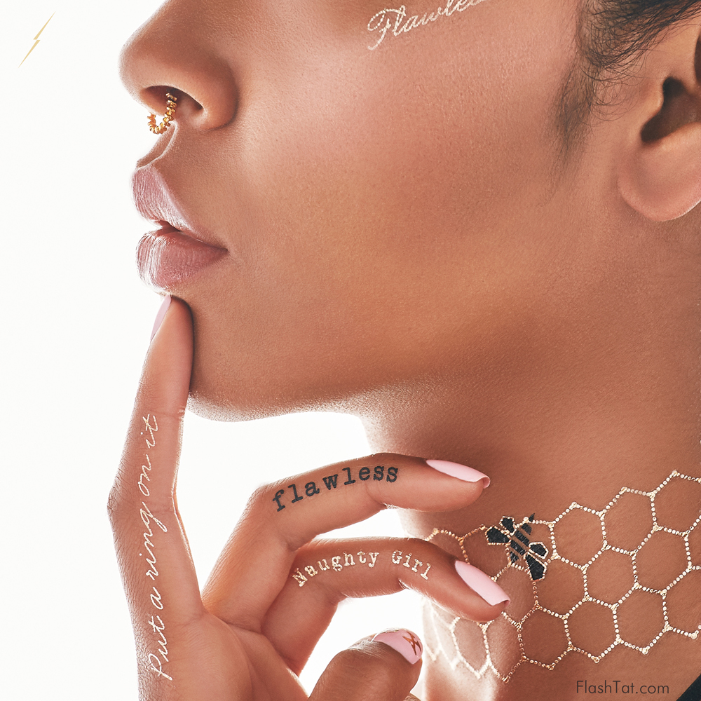 Beyonce-Launches- Flash-Tattoo-Line-Metallic-Flash-Tattoo-trend-2